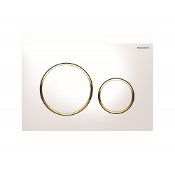 Geberit Actuator Plate Sigma 20 Dual Flush - White and Gold Plated